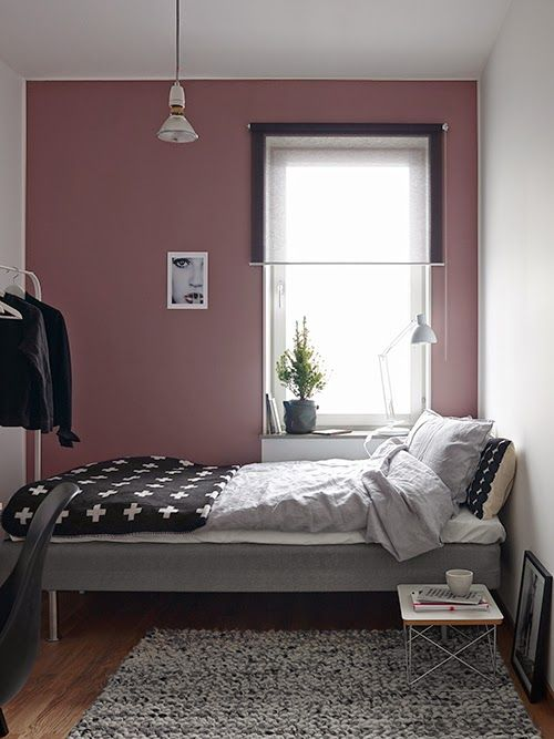 Bedroom with pink wall amenagement maison Pinterest