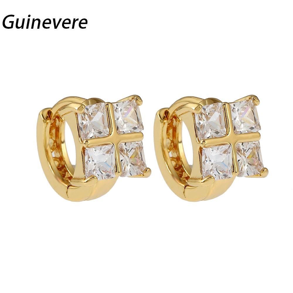 Guinevere Cubic Zircon Trendy Clip On Earring Copper Golden Earrings Women Fashion Party Jewelry