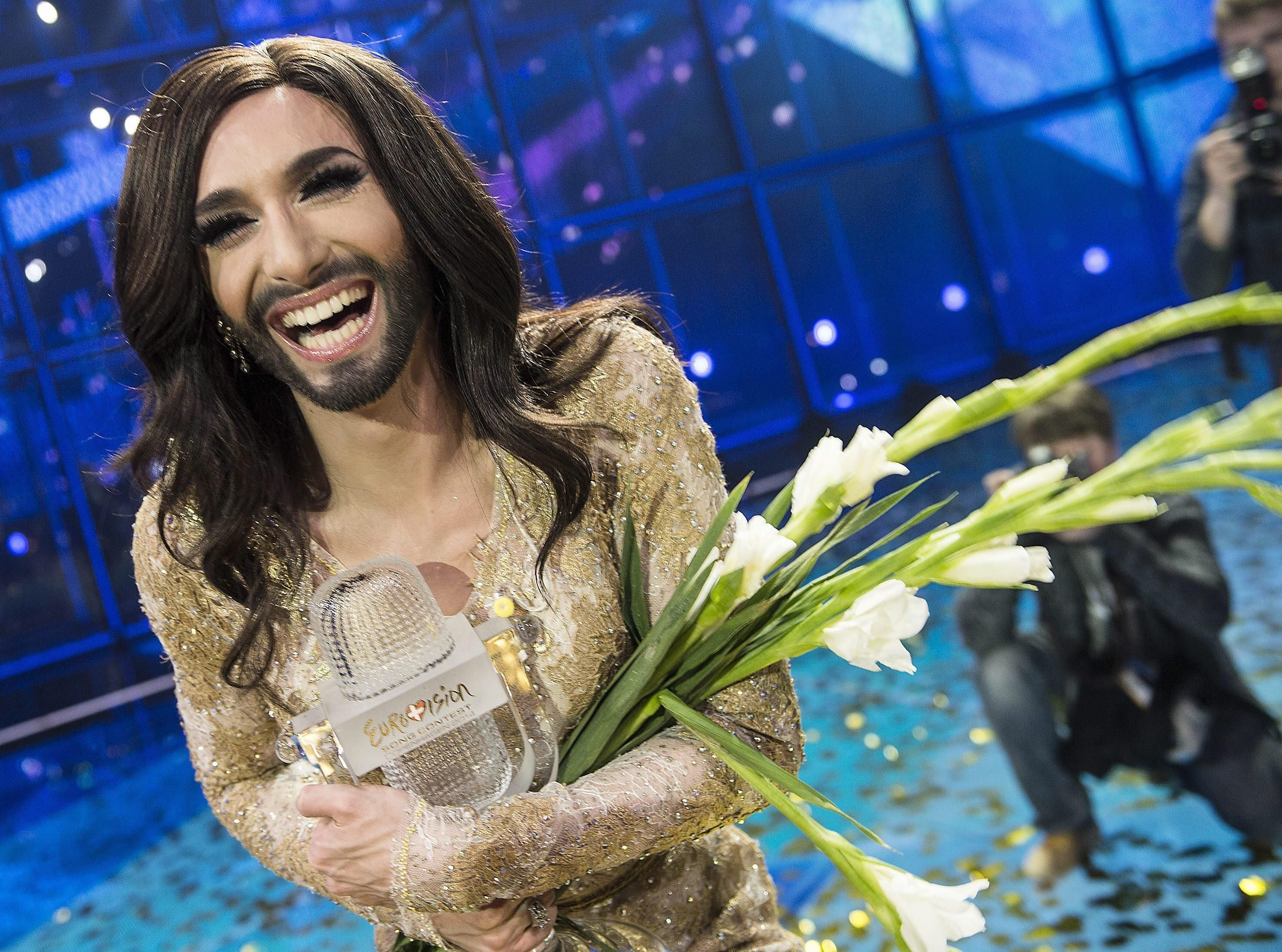 Conchita wurst and dana international in eurovision first star - Austria S Bearded Lady Conchita Wurst Wins The 2014 Eurovision Song Contest News Com Au Conchita Pinterest Bearded Lady