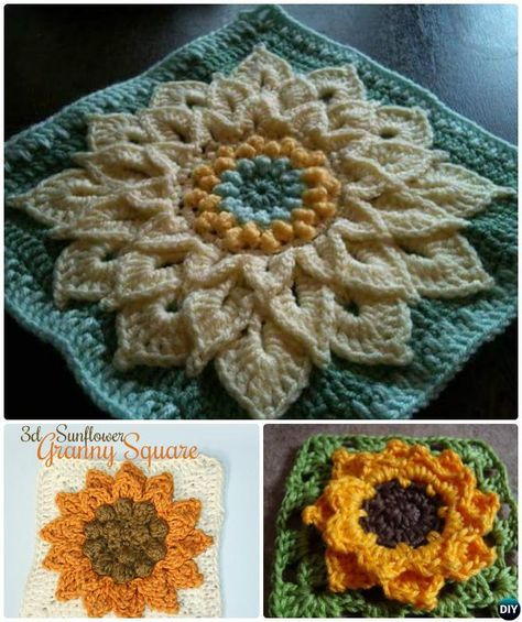 Crochet 3D Sunflower Granny Square Free Patterns | Tori | Pinterest