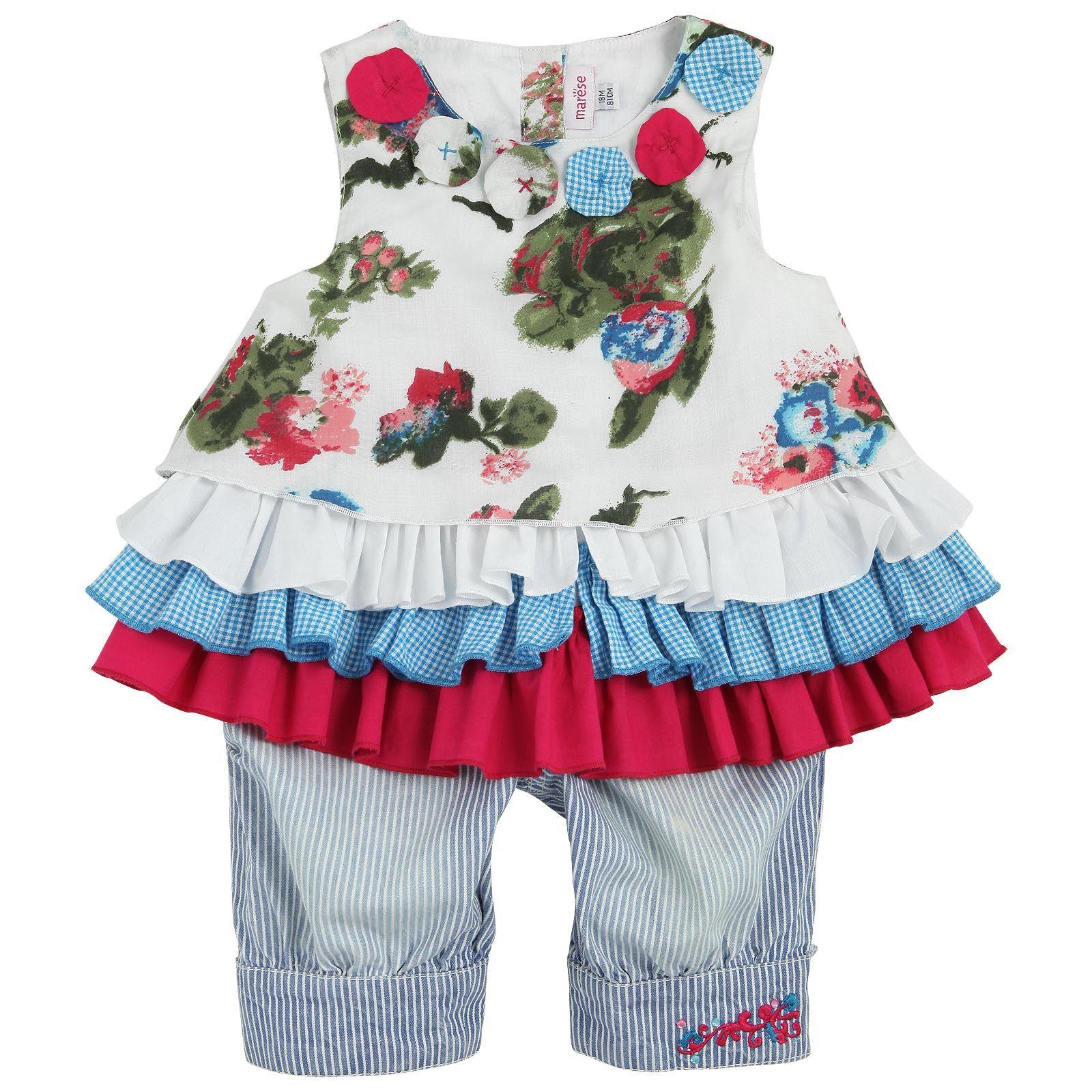 Baby pink dungaree dress  VESTIDO  CALÇA  Marèse Tunique à fleurs et pantacourt rayé
