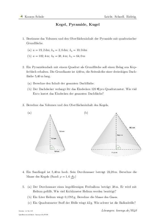 Kegel, Pyramide, Kugel | Aufgaben mit Lösungen und Videoerklärungen ...