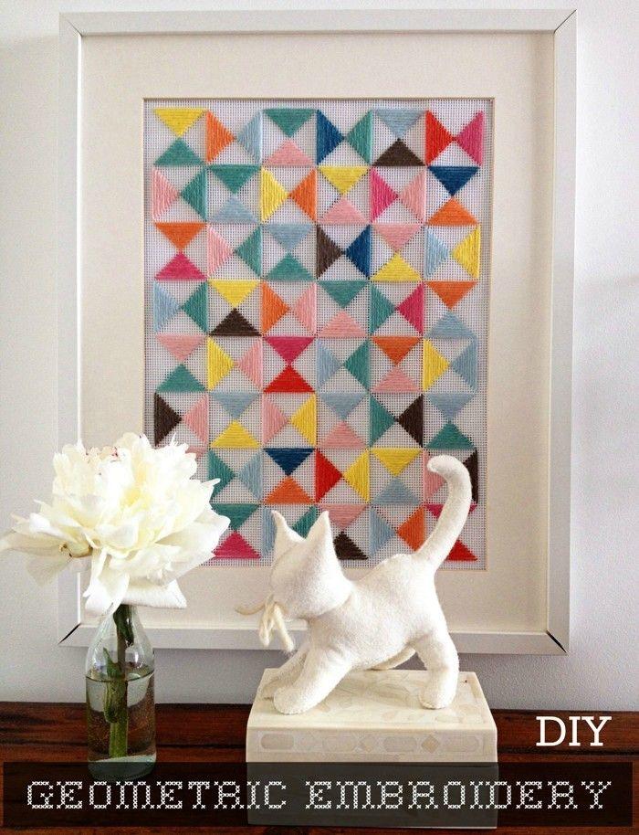 gobelin stickbilder kreative ideen deko ideen diy ideen anders - dekorative geometrische muster interieur