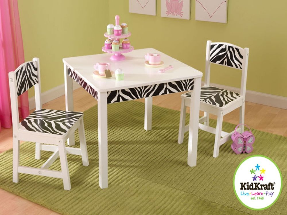 KidKraft Zebra Black White Funky Table Chair Set zebra kids – Girls Table and Chair