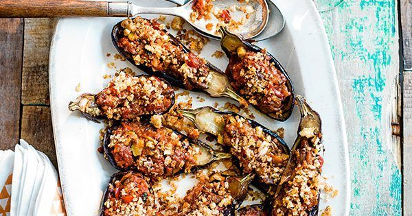 Aubergine stuffed with pisto recipe - http://www.olivemagazine.com/recipes/vegetarian/aubergine-stuffed-with-pisto/