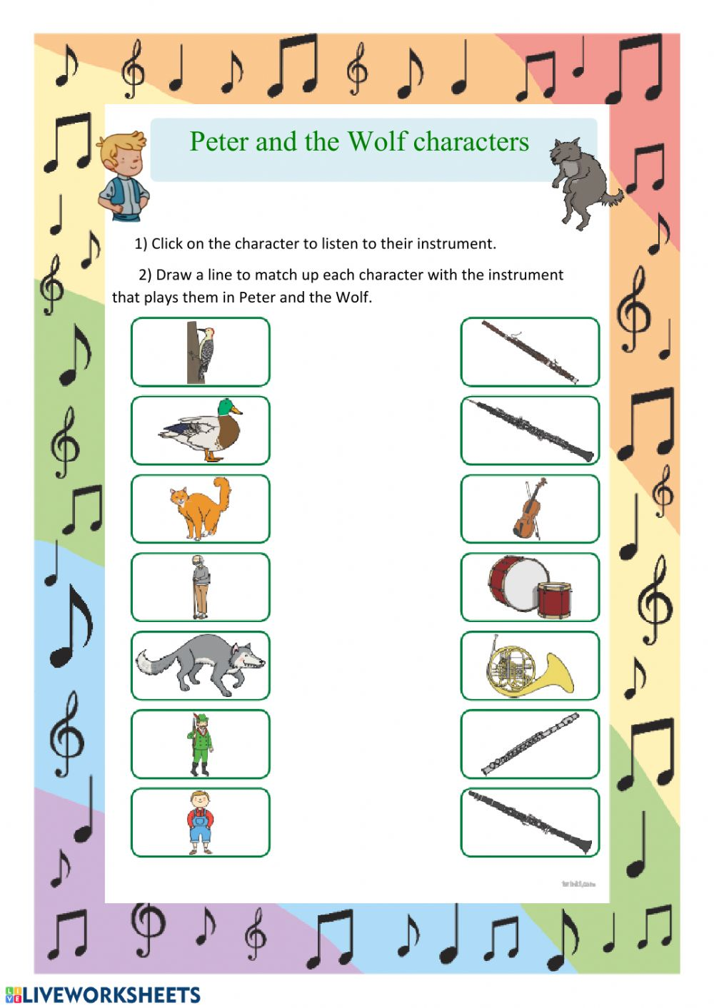 Prokofiev Peter And The Wolf Interactive And Downloadable Worksheet You Can Do The Exercises Onli Music Worksheets Teaching Music Preschool Music Activities [ 1413 x 1000 Pixel ]