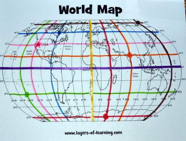 Free Printable World Map and Mapping Activity for learning about the equator, prime meridian, and latitude and longitude grid.