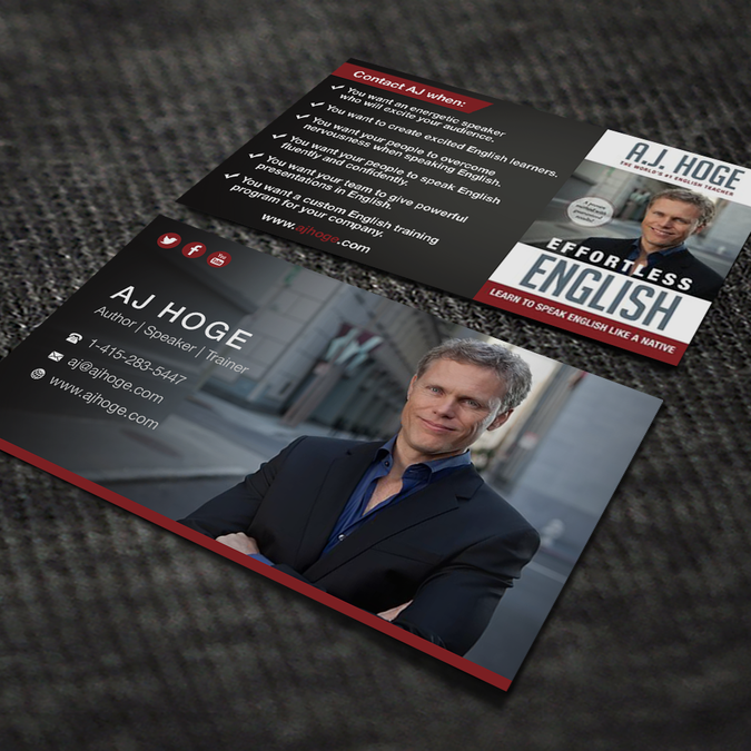 Design Winning Professional Card For Author Motivational Speaker And English Coach By Bertmanuel Motivational Speaker Visiting Cards Business Card Design