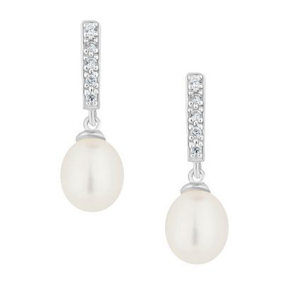 Simply Silver Sterling Silver Fancy Pearl Drop Earring At