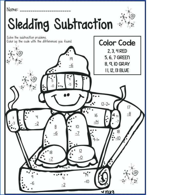 Subtraction Coloring Worksheets 2nd Grade With Images Color