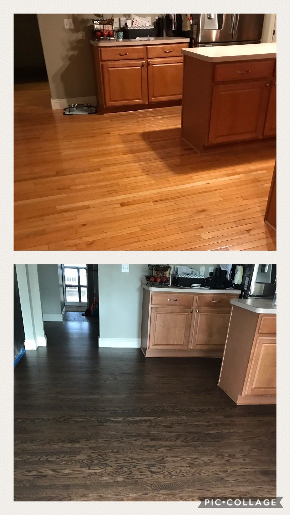 Builder Grade Red Oak Wood Floors Refinished With Espresso And Grey With A Satin Finish Red Oak Wood Floors Oak Wood Floors Red Oak Wood