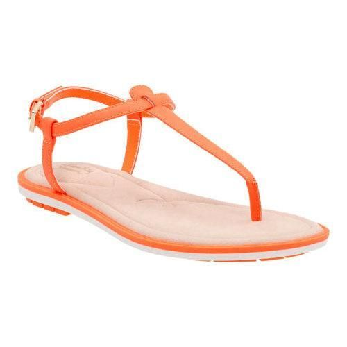 Factory Outlet Womens Sandals Clarks Seattle Spice Bright Orange Leather