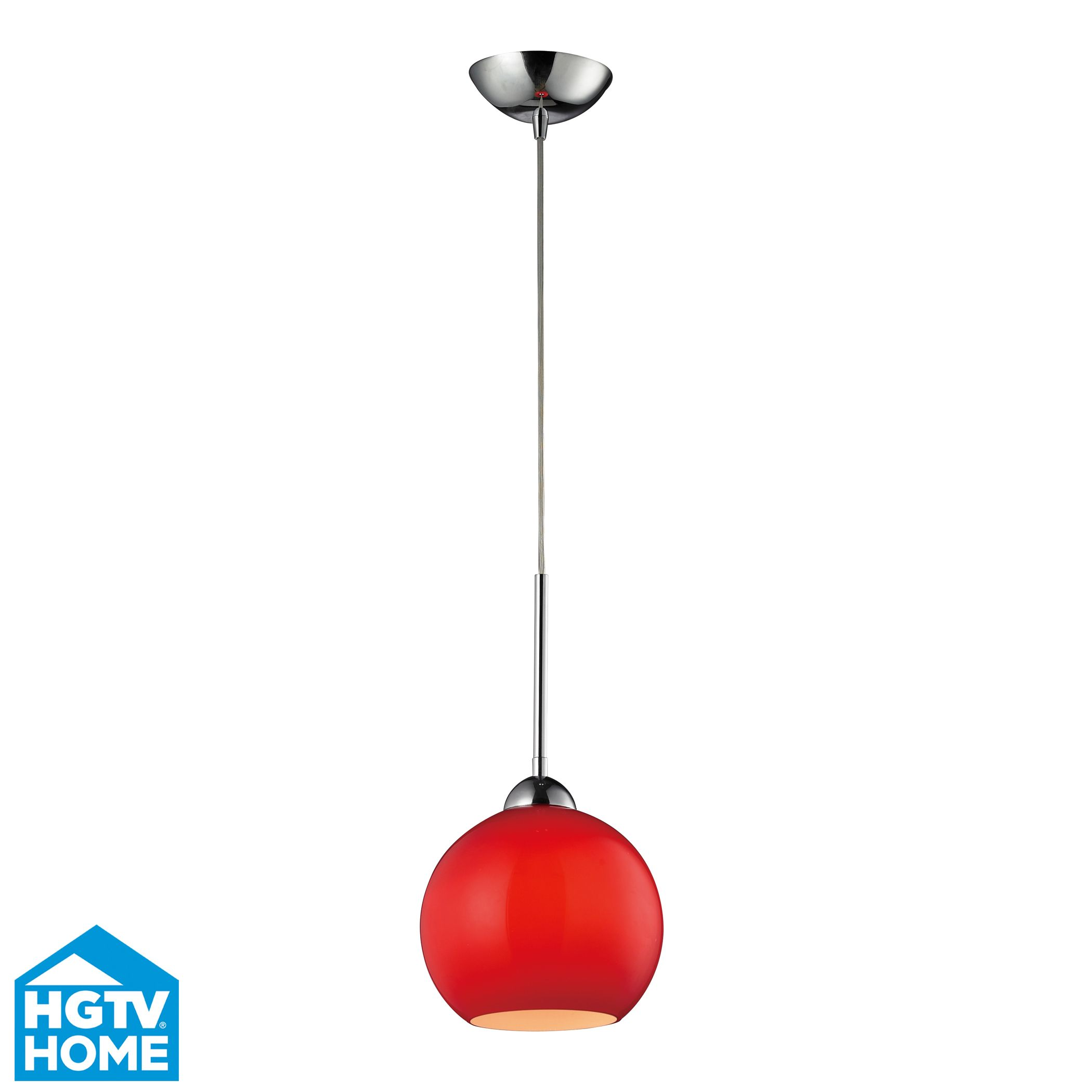 Cassandra light pendant in polished chrome and vermilion glass