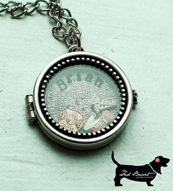 handstamped i love my firefighter memory locket by