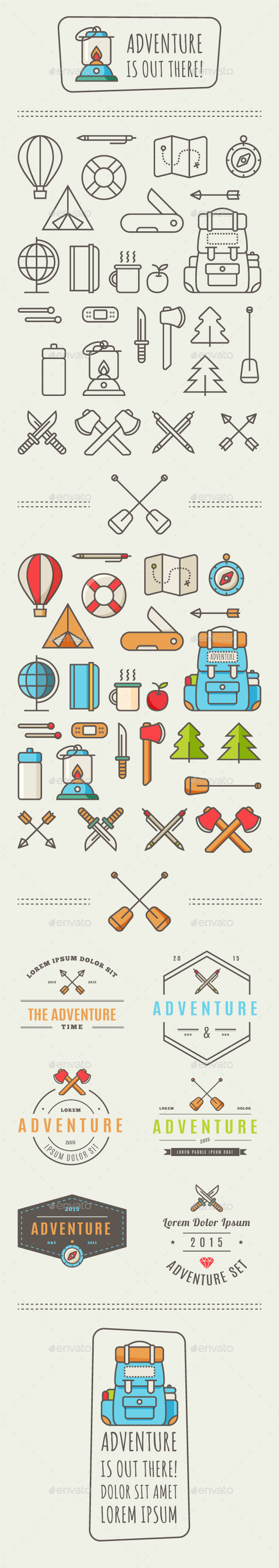 Adventure icons fonts logos icons pinterest vector shapes buy adventure icons by fet on graphicriver icons for adventure in the style of flat design for poster greeting card flyer or what you need m4hsunfo