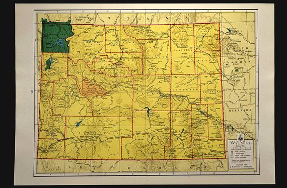 Colorful Yellow Vintage Wyoming Map of Wyoming Wall Art | Map Wall ...