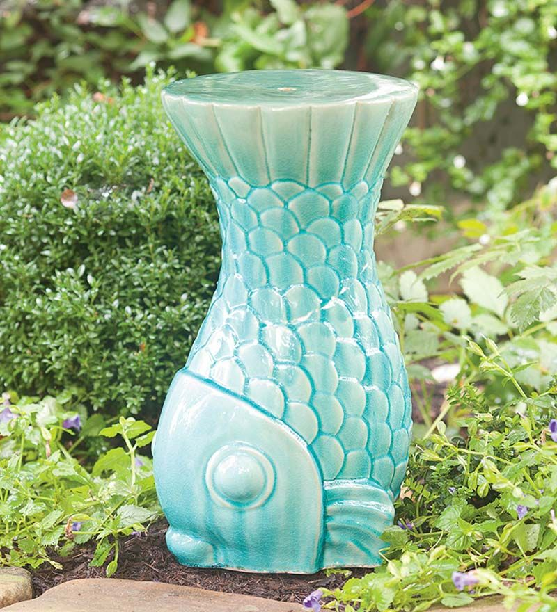 #fish Ceramic Garden Stool Art Statues