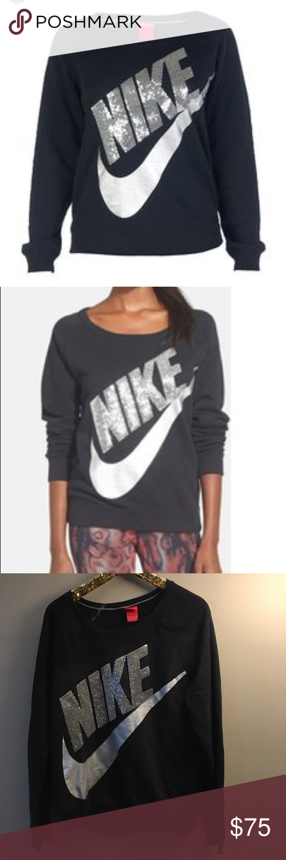 db1632032df8 Nike Rally Sequined Sweatshirt A glittering Nike logo and shiny silver  Swoosh add serious street cred to this relaxed-fit sweatshirt.