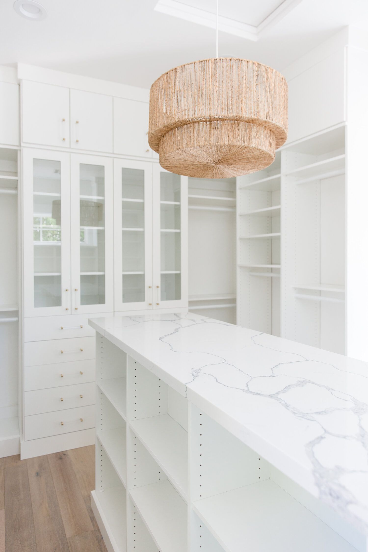 Stunning Master Closet Built Ins With Marble Countertops In 2020 Master Closet Design Master Bedroom Lighting Closet Built Ins