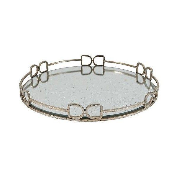 Round Decorative Tray Round Decorative Tray With Mirrored Finish Medium Grey $48