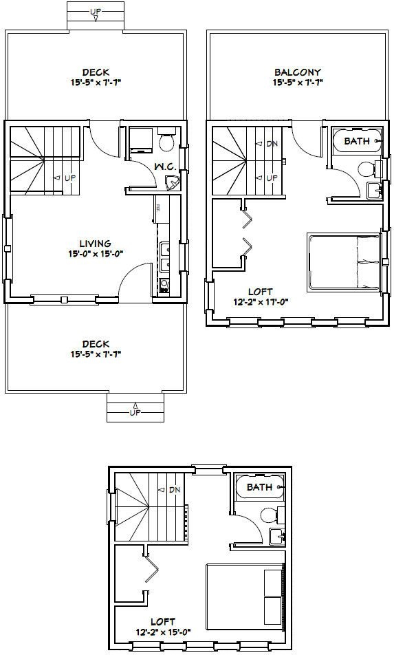 16x16 Tiny House 16X16H22C 671 sq ft Excellent Floor Plans