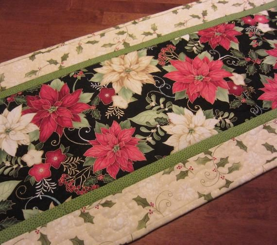Red and White Poinsettias on Black Background with Holly Border on