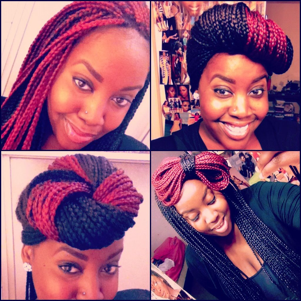 Box braid styles with a pop of color not sure that id