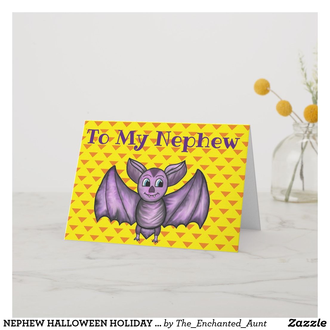 NEPHEW HALLOWEEN HOLIDAY CARD BAT ORANGE PURPLE   Zazzle.com   Presents for aunts, Aunt gifts ...