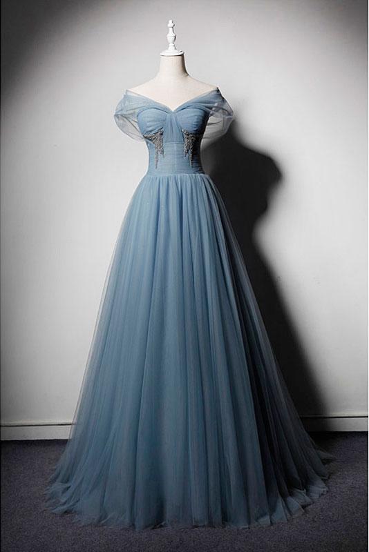 Dusty Blue Off Shoulder Tulle Prom Dresses,A Line Blue Evening Dress