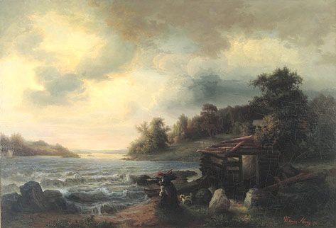 Langinkoski, Victoria Åberg (1824–1892) - Victoria Åberg kuului Magnus von Wrightin,  Johan Knutsonin, Ferdinand von Wrightin ja Werner Holmbergin ohella merkittävimpiin Suomessa toimineisiin varhaisiin maisemamaalareihin.