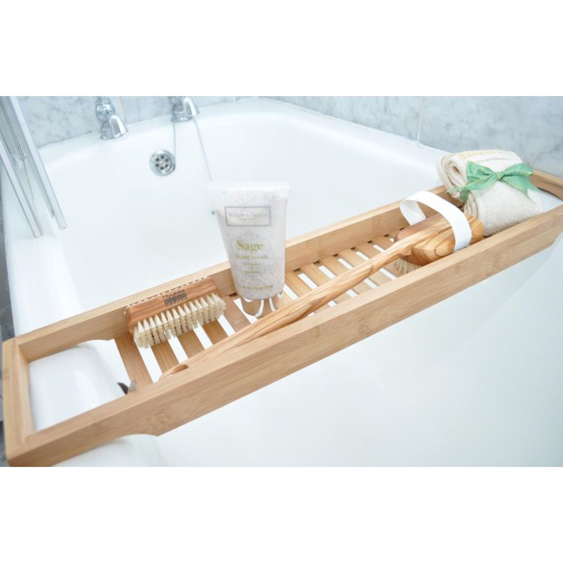 Bath Bridge Bathtub Soap Holder Slim Bamboo Bathroom Accessories ...
