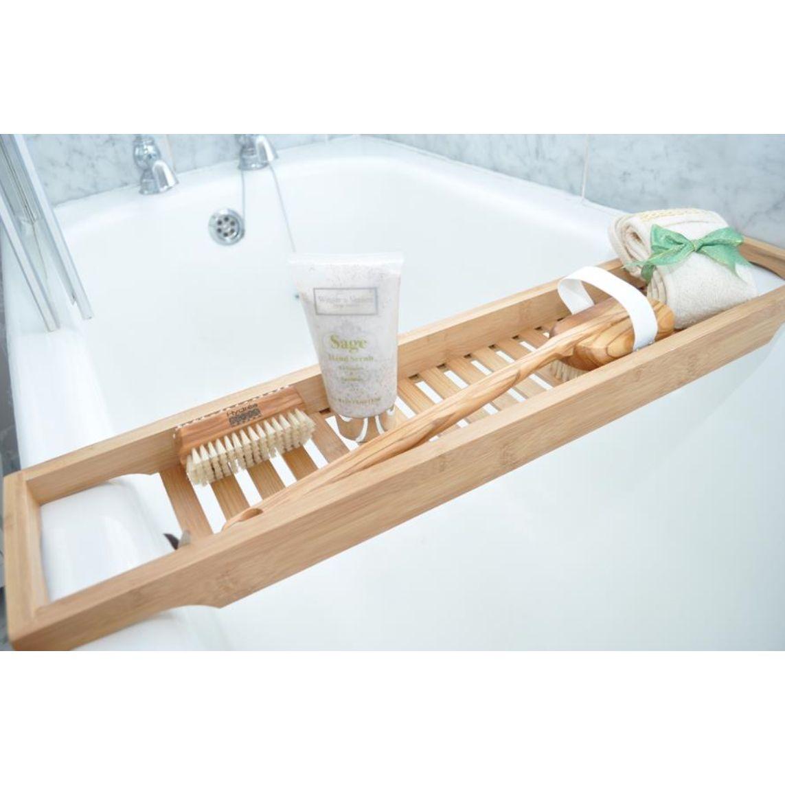 bath bridge bathtub soap holder slim bamboo bathroom accessories storage httpwww - Wooden Bathroom Accessories Uk