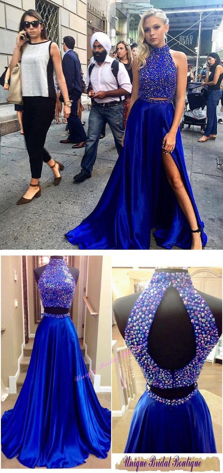 Two piece high neck beading royal blue split sweep train prom dress
