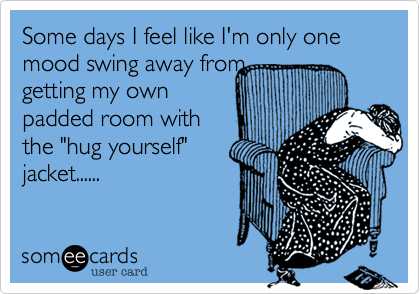 Some Days I Feel Like I M Only One Mood Swing Away From Getting My Own Padded Room With The Hug Yourself Jacket Funny Mom Memes Mom Humor Funny Quotes