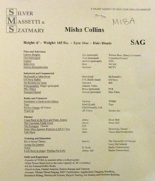 Misha Collins' resume!