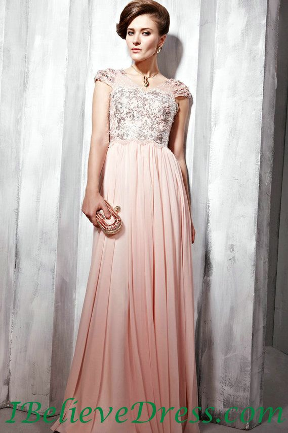 chiffon applique cap sleeves women long formal evening modest prom