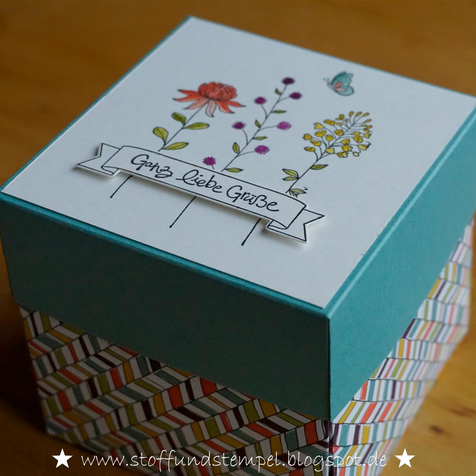 stoff und stempel flowering fields forever stampin up pinterest stempel explosionsbox. Black Bedroom Furniture Sets. Home Design Ideas