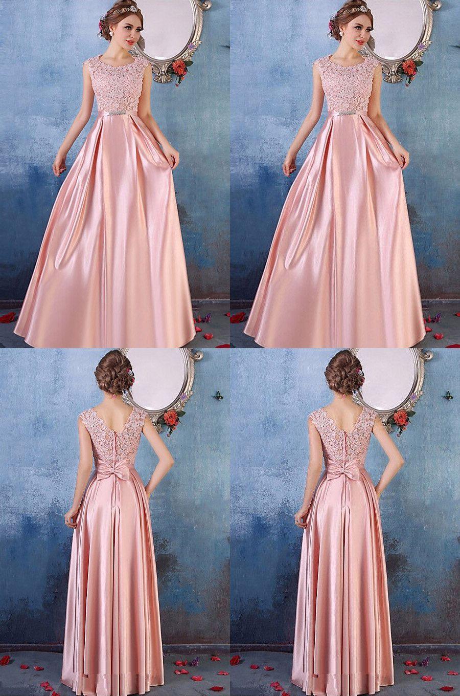 Pink prom dresses long formal dresses aline scoop neck party