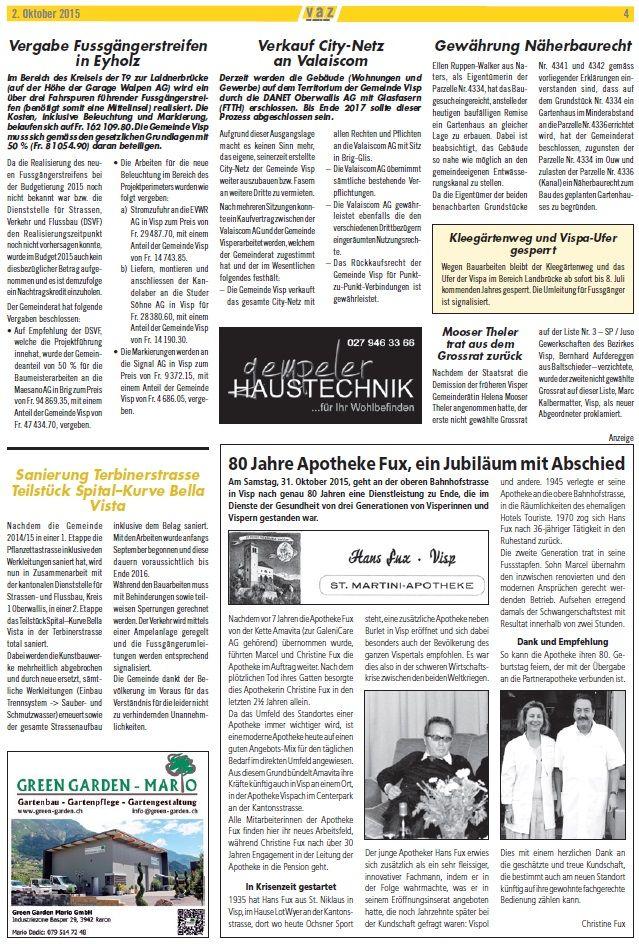NEU! Green Garden Mario im Visper Anzeiger (VAZ) - heutige Ausgabe