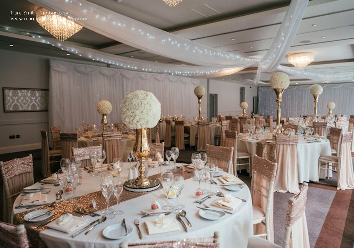Glitter wedding theme | Rose Gold decorations | Hensol ...