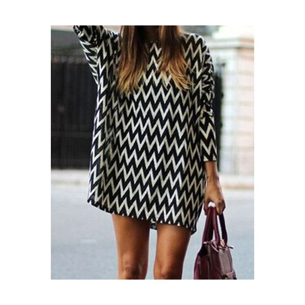 Casual Style Round Neck Long Sleeve Printed Loose Fitting Women s... (23 CAD) ❤ liked on Polyvore featuring dresses, white and black, loose fitting dresses, black white dress, black and white dress, black and white long sleeve dress and round neck dress