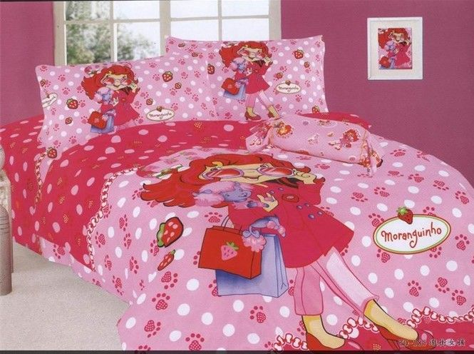 Nice Strawberry Girls Pink Full Twin Bedding Set Bed Sheets Cartoon Kids/ 100  Cotton Single Double