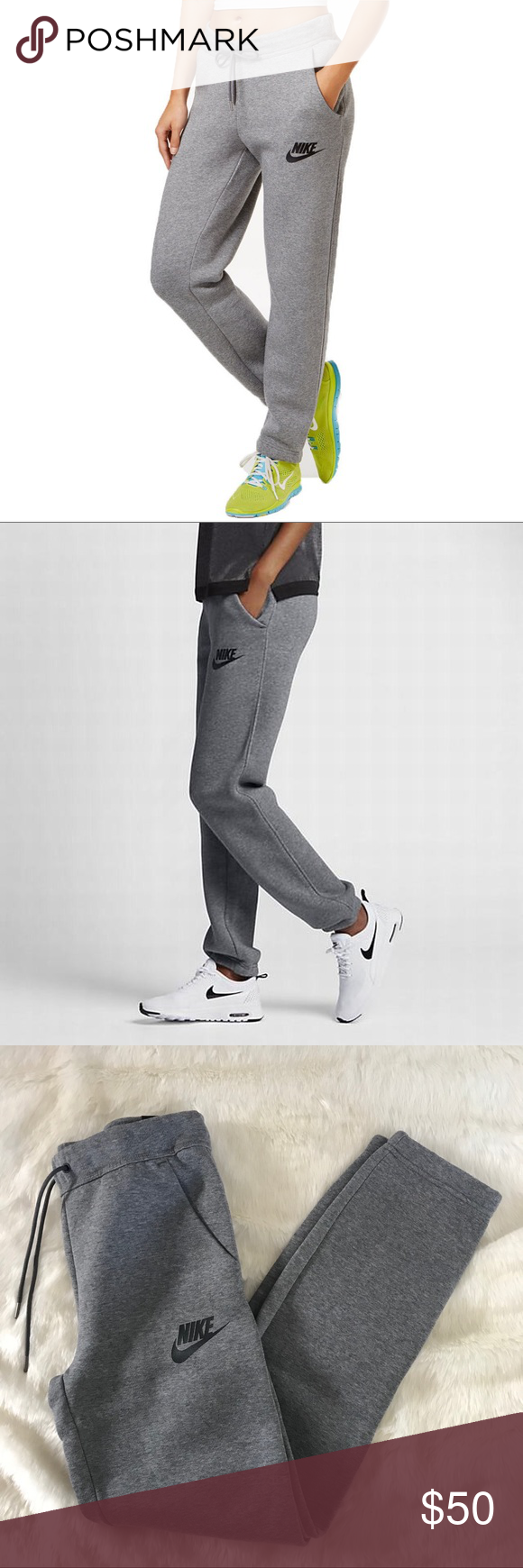 Nike Grey Baggy Fleece Sweatpants •Loose grey sweatpants  •Size XS and S available, relaxed fit.  •New with tag.  •No trades, no holds. Nike Pants Track Pants & Joggers