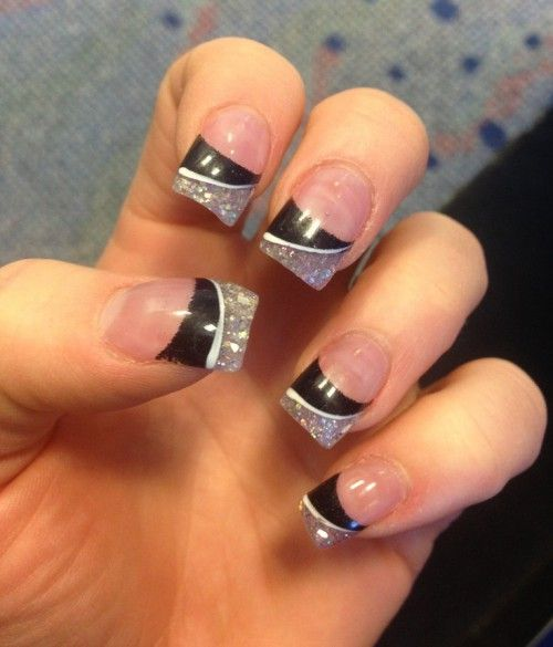 Black and Glitter Acrylic Nail