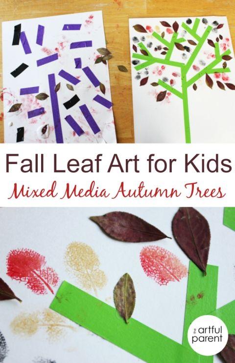 Fall Leaf Art for Kids - Mixed Media Autumn Trees