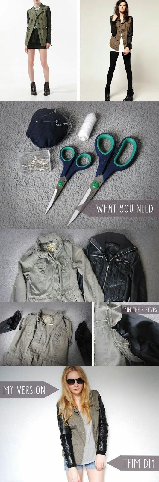 Diy leather jacket with sleeves diy fashion pinterest leather leather sleeved parka gorgeous shirt fancy shirt 10 easy to make do it yourself ideas solutioingenieria Images