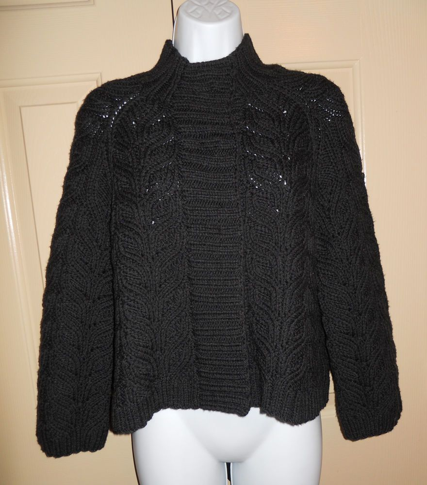 Lafayette 148 black chunky knit snap cardigan 100% wool sz S ...