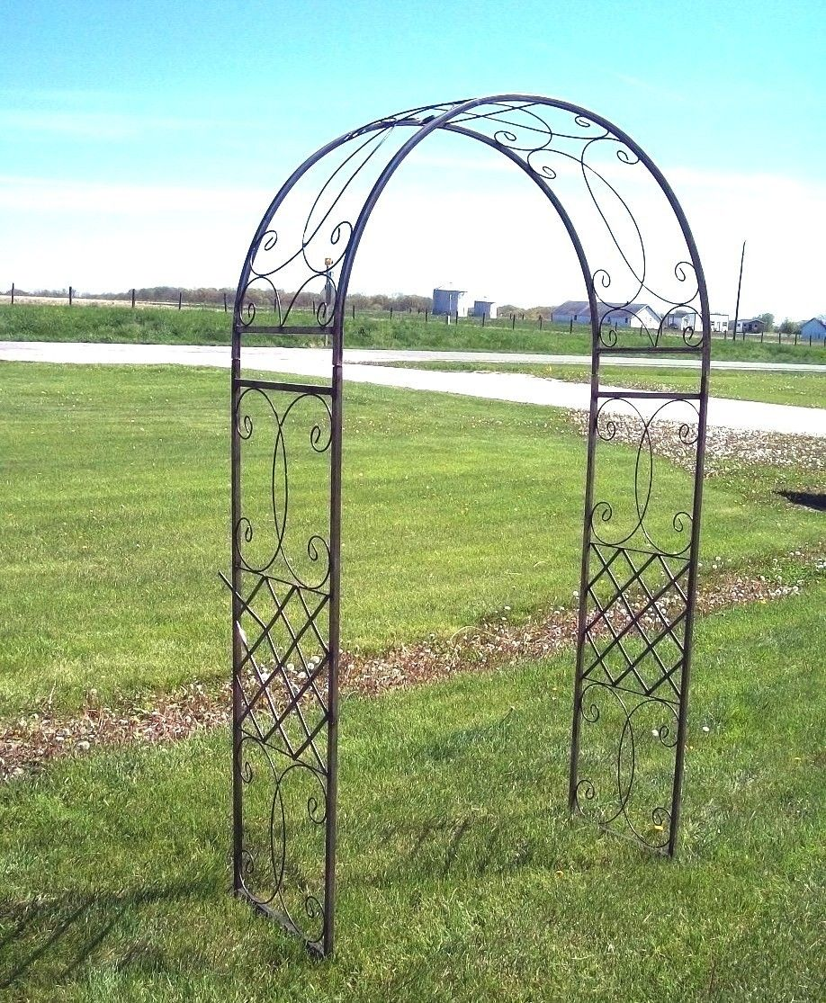 Ornamental Metal Round Top Garden Planter Arch: Wrought Iron Fancy Curl Arbor