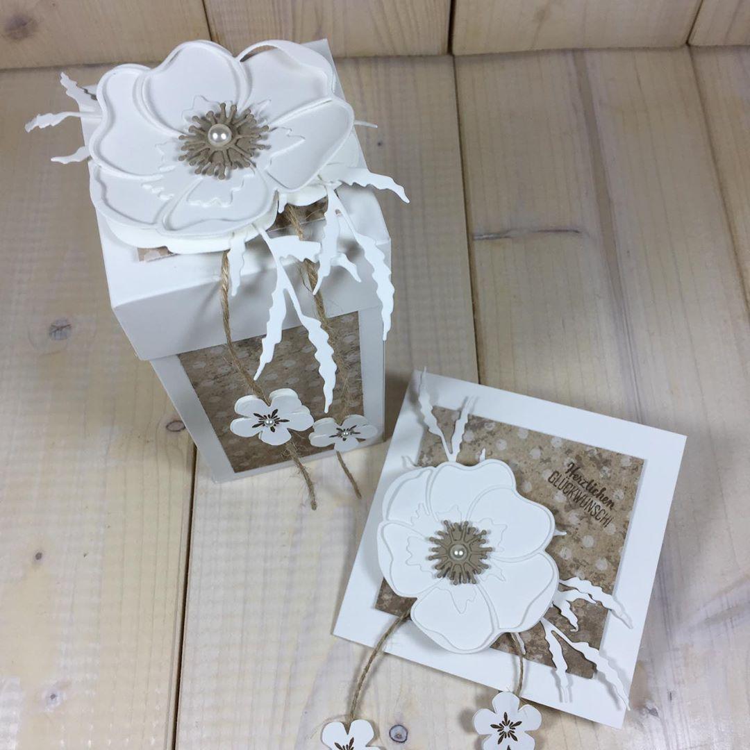 """Sabrina Cavallo on Instagram: """"Heute gibt es Mohnblumen im Vintagestil � #geburtstagskarte #geschenkset #box #verpackungsidee #glückwunschkarte #verpackung…"""""""