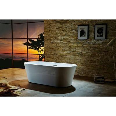 Virtu USA Serenity 5.8 ft. Center Drain Soaking Tub in White ...